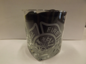 Firefighter Square Glass with Maltese Cross