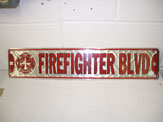 Firefighter Blvd Street Sign