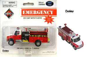 Boley International Red/Wht 4300 2-Axle Commercial Pumper HO Scale 1/87